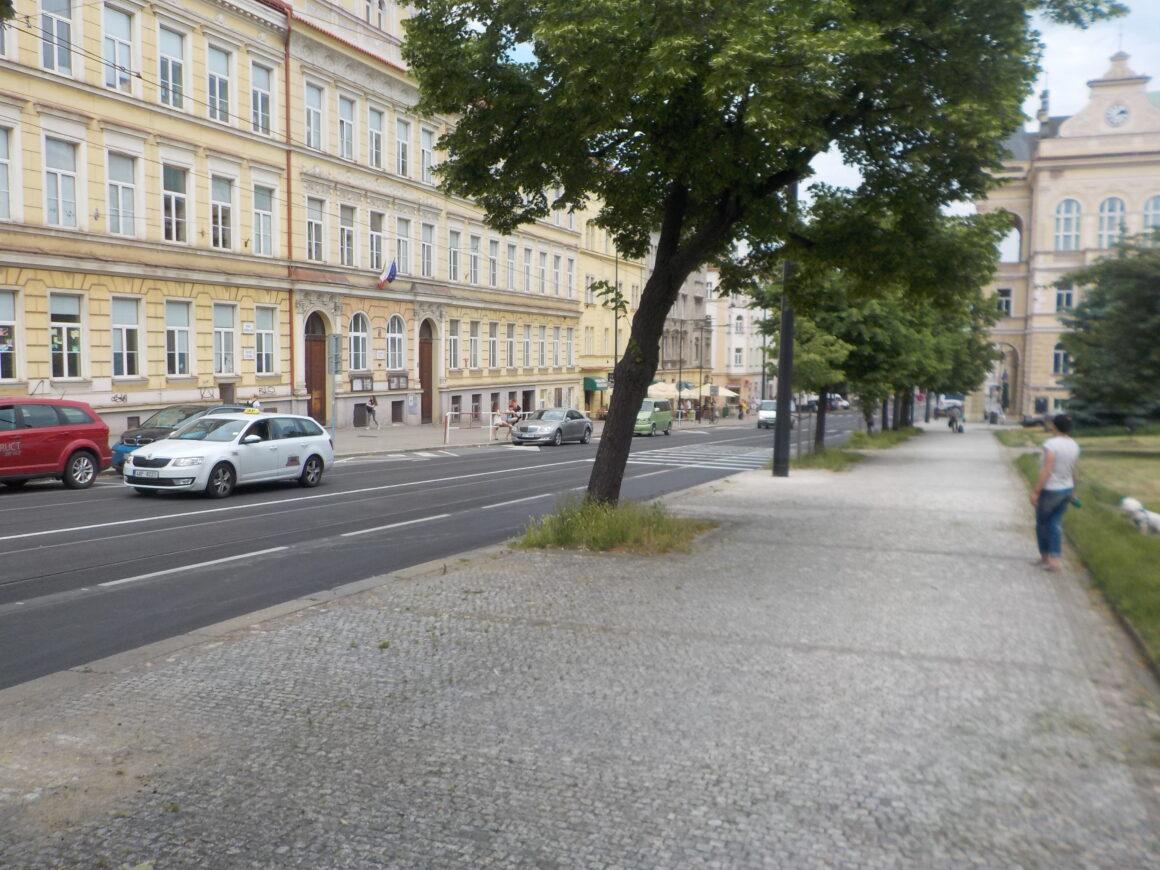 Problémový, 11,5 metru dlouhý přechod před ZŠ Táborská se zkrácení nedočkal. Spádové území školy je přitom převážně ve svahu za přechodem.